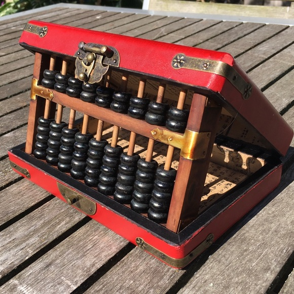 Vintage Chinese Leather Wrapped Box With Abacus
